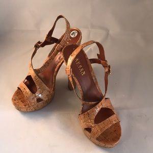 Ralph Lauren glazed cork platform heels size 8.5M